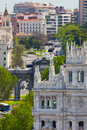 Aerial view of madrid famous alcala gate builldings and stre spain street plaza de la independencia Stock Photography