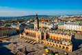 Aerial view on the main market square in Krakow Royalty Free Stock Photo