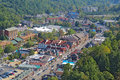 Aerial view of the main road through gatlinburg tennessee downtown viewed from above looking away from smoky mountains national Royalty Free Stock Photography