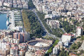 Aerial view of malaga downtown with its bull ring spain Stock Photography