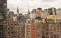 Aerial view of Manhattan buildings. Metropolis skyline Royalty Free Stock Photo