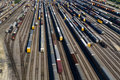 Aerial View of Many Train Cars on Tracks Royalty Free Stock Photo
