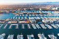 Aerial view of the Marina del Rey harbor in LA Royalty Free Stock Photo