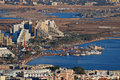 Aerial view on marina in eilat and lagoon in aqaba panoramic from surrounding hills israel jordan Stock Photography