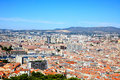 Aerial view of Marseille City and harbor Stock Images