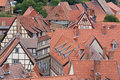 Aerial view at the medieval city Quedlinburg Stock Images