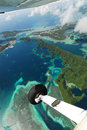 Aerial view of micronesia islands from light aircr Stock Photo