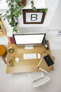 Aerial view of a modern creative workspace the office entrepreneur Stock Photography
