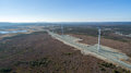 Aerial View of Modern Windmill Turbine, Wind Power, Green Energy Royalty Free Stock Photo