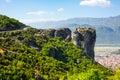 Aerial view of monastery at Meteora cliff and Kalambaka town, Greece Royalty Free Stock Photo