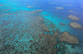 Aerial view of Moore coral reefs Cairns - Great Barrier Reef Que Royalty Free Stock Photo