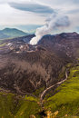 Aerial view of Mount Aso volcano caldera in Kumamoto, Kyushu Royalty Free Stock Photo