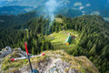 Aerial view of a mountain hut from the top the next to cross Stock Images