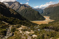 Aerial view of mountain huts on routeburn track in new zealand Stock Photos