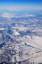 Aerial View of Mountain with Snow Stock Photo