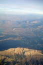 Aerial view mountains in sunset Royalty Free Stock Image