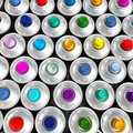 Aerial view of multicolored aerosol cans Stock Images