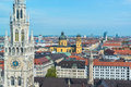 Aerial view of munchen new town hall and frauenkirche Royalty Free Stock Photography