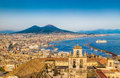 Aerial view of Naples with Mount Vesuvius at sunset, Campania, Italy Royalty Free Stock Photo