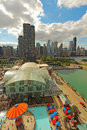 Aerial view of navy pier and the chicago illinois skyline in with a background on september is a popular destination with many Royalty Free Stock Images