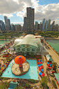 Aerial view of navy pier and the chicago illinois skyline in with a background on september is a popular destination with many Royalty Free Stock Photography