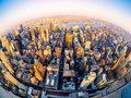 Aerial view of New York City at sunset
