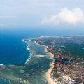 Aerial view nusa dua beach bali showing roofs many hotels restaurants Royalty Free Stock Photo