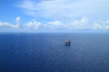 Aerial View of Offshore Jack Up Drilling Rig Royalty Free Stock Images