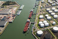 Oil tankers silo port moored Royalty Free Stock Photo