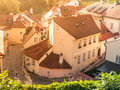 Aerial view of old medieval narrow cobbled street and small ancient houses of Novy Svet, Hradcany district, Prague Royalty Free Stock Photo