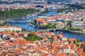 Aerial view of old Red Tiles roofs in the city Prague, Czech Rep
