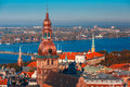 Aerial view of old town and daugava riga latvia river from saint peter church with cathedral castle Royalty Free Stock Photos