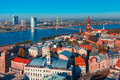 Aerial view of old town and daugava riga latvia river from saint peter church with cathedral cathedral basilica saint james Stock Photo