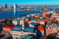 Aerial view of old town and daugava riga latvia skycrapers river from saint peter church with cathedral cathedral basilica saint Stock Photography