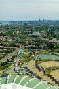 Aerial view of the Olympic park and the city, in Montreal Royalty Free Stock Photo