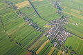 Aerial view over the amsterdam suburbs with canals houses and fields holland Stock Photography