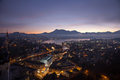 Aerial view over Luzern Lucerne at sunrise, Switzerland Royalty Free Stock Photo