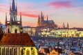 Aerial view over Old Town at sunset, Prague Royalty Free Stock Photo