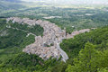 Aerial view of pacentro italy top the village in abruzzo central Stock Photo