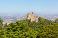 Aerial view of palace da pena sintra lisbon portugal european travel Royalty Free Stock Image