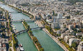 Aerial view of paris from eiffel tower france Royalty Free Stock Images
