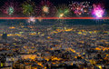 Aerial view of Paris, France with fireworks in the sky. Royalty Free Stock Photo