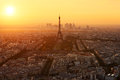 Aerial view of paris france at sunset Stock Image
