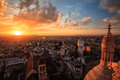 Aerial view of Paris at sunset,france Stock Photo