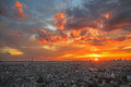 Aerial view of Paris at sunset, france Royalty Free Stock Image