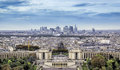 Aerial view of paris with trocadero and la defense france Stock Photo