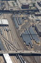 Aerial view of parked trains Stock Photography