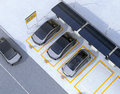 Aerial view of parking lot for car sharing business