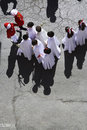 Aerial view of a penitents in a procession of holy week on palm sunday andalucia spain Stock Photography