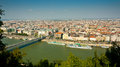 Aerial view of pest and erzsebet bridge from gellert hill budapest hungary Stock Photos